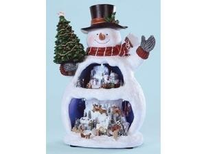 "13"" Animated and Musical LED Lighted Snowman with Double Winter Scene Christmas Table Top Decoration"