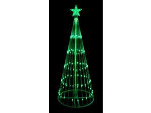 12' Green LED Light Show Cone Christmas Tree Lighted Yard Art Decoration