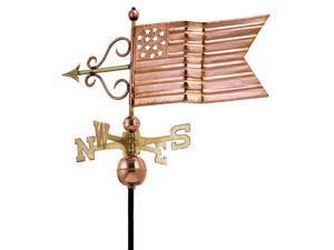 "31"" Luxury Polished Copper Patriotic American Flag Weathervane"