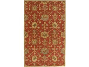8' x 11' Grecian Arms Rust Red, Khaki Tan and Olive Green Wool Area Throw Rug