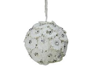 "4"" Rustic Chic Glittered White Flower Petals w/ Rhinestones Christmas Ball Ornament"