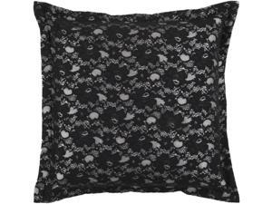 "22"" Caviar and Light Gray Modern Chic Lace Decorative Down Throw Pillow"