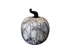 "15"" Spooky Black Spider Web Lace Covered Halloween Pumpkin Table Top Decoration"