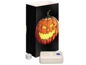 Club Pack of 12 Lighted Wax Tea Candles Jack O'Lantern Halloween Luminaria Kit