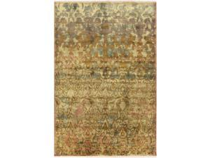 2' x 3' Antique-Style Astrotta Bronze and Golden Green Hand Knotted Wool Area Throw Rug