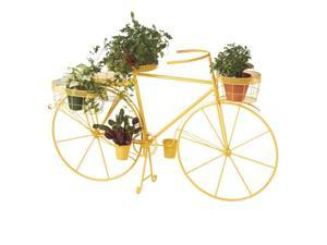 "61"" Vibrant Sunshine Yellow Outdoor Patio Garden Bicycle with Planter Baskets"