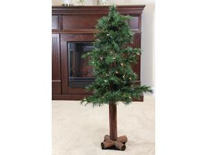 "6' x 30"" Pre-Lit Traditional Woodland Alpine Artificial Christmas Tree - Multi Lights"