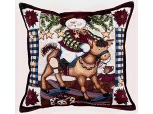 "17"" Snowman Rocking Horse Decorative Christmas Tapestry Accent Throw Pillow"