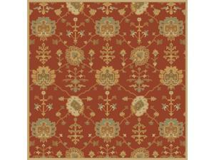 8' x 8' Grecian Arms Rust Red, Khaki Tan and Olive Green Square Wool Area Throw Rug