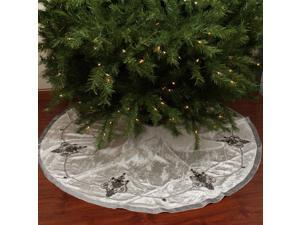 "56"" Elegant Cream and Charcoal Gray Beaded and Sequin Velveteen Christmas Tree Skirt"