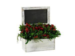 "11"" Decorative Holiday Chalkboard with Green and Red Floral Arrangment"