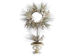 "28"" Champagne Potted Artificial Christmas Pine Wreath with Snowflakes and Ribbon"