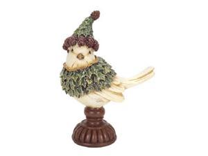 "7"" Side Facing Holly Bird with Hat on Pedestal Christmas Figurine Decoration"