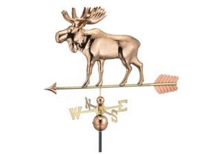 "24"" Polished Copper Moose Outdoor Weathervane with Arrow"