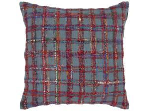 "22"" Stormy Sea Blue and Maroon Red Thick Plaid Decorative Down Throw Pillow"