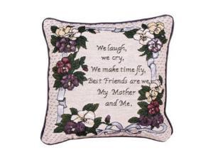 "12"" Floral My Mother and Me Decorative Tapestry Accent Throw Pillow"