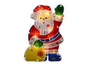 "13"" Lighted Double-Sided Holographic Santa Claus Christmas Window Silhouette"