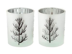 Set of 2 Frosted Silver and Black Glass Christmas Tree Votive Candle Holders 3.5""