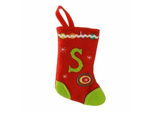 "6.25"" Red and Green Monogrammed ""S"" Mini Christmas Stocking"