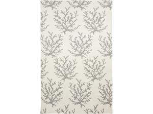 8' x 11' Budding Branches Ash Gray and White Hand Woven Wool Area Throw Rug