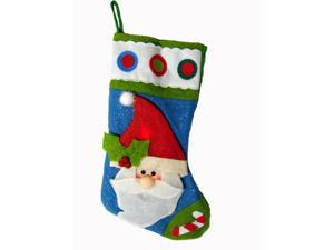 "22"" Color Changing LED Lighted Glittered Santa Claus Christmas Stocking"