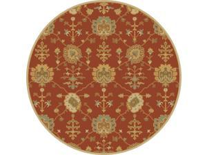 8' Grecian Arms Rust Red, Khaki Tan and Olive Green Round Wool Area Throw Rug