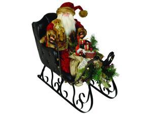 "30"" Elegant Crushed Velvet Santa Claus in Black Leather Sleigh Christmas Figure"