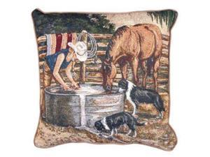 "17"" Country Rustic Working Cowgirl Decorative Accent Throw PIllow"