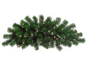 "28"" Pre-Lit Deluxe Windsor Pine Artificial Christmas Swag - Clear Lights"