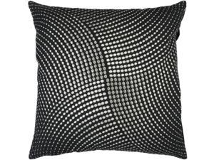 "18"" Glitzy Wavy Dimensional Dot Black and Silver Decorative Down Throw Pillow"