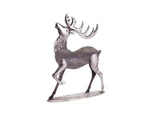 "19"" Winter Light Two-Tone Silver and Gray Wooden Buck Reindeer Christmas Decoration"