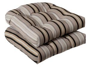 Pack of 2 Outdoor Patio Wicker Chair Seat Cushions - Black & Tan Striped Voyage