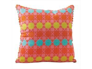 Pack of 2 All That Flowers Orange,Turquoise and Pink Decorative Square Throw Pillows 18""