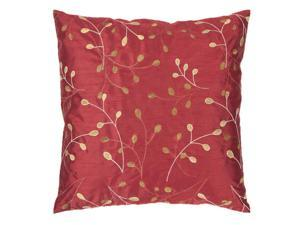 "18"" Venetian Red and Cumin Shiny Leaf Decorative Down Throw Pillow"