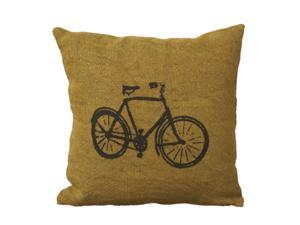 "18"" Contemporary Chartreuse Bicycle Jute Decorative Throw Pillow"