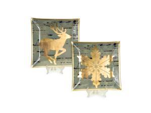Set of 2 Luxury Lodge Gold Snowflake & Reindeer Decorative Gray Birch Glass Christmas Plate Chargers 12""