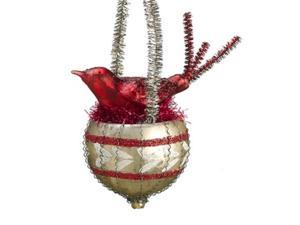 "Country Cabin Red and Gold Bird Nest Glass Christmas Ball Ornament 6.5"" (166 mm)"
