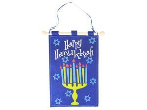 "12.5"" Blue ""Happy Hanukkah"" Menorah with Stars of David Decorative Holiday Banner"