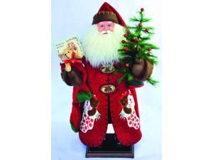 "20"" Old World Santa Claus with Stocking and Christmas Tree Table Top Figure"