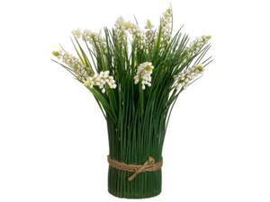 "11"" Artificial Muscari and Onion Grass Standing Bundle Wrapped with Decorative Tan Rope"