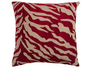 "18"" Red and Beige Hot Animal Print Decorative Down Throw Pillow"