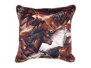 "17"" Wild Running Mustang Horses Decorative Accent Throw Pillow"