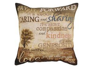 "17"" Inspirational Pay it Forward Square Decorative Tapestry Accent Throw Pillow"