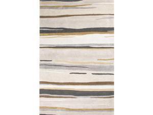9.5' x 13.5' Gray, Cream and Black Modern Bernini Hand Tufted Wool and Art Silk Area Throw Rug