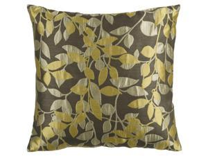 "22"" Yellow and Beige Romantic Leaf Decorative Down Throw Pillow"