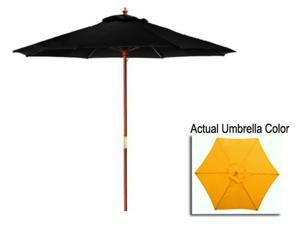 9' Outdoor Patio Market Umbrella - Yellow and Cherry Wood