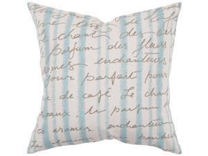 "22"" Sea Blue and Ivory Stripes with French Text Decorative Throw Pillow"