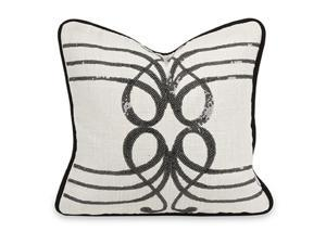 "14"" Sinfonica Music Inspired Gray Linen Sequined Throw Pillow with Down Insert"