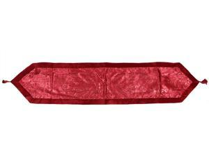 "16"" x 72"" Red Glitter Swirl Christmas Table Runner with Velveteen Trim"