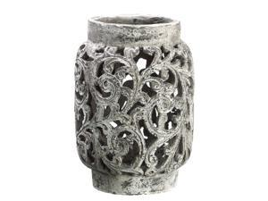 "9"" Antique-Style Distressed Paisley Hurricane Candle Holder"